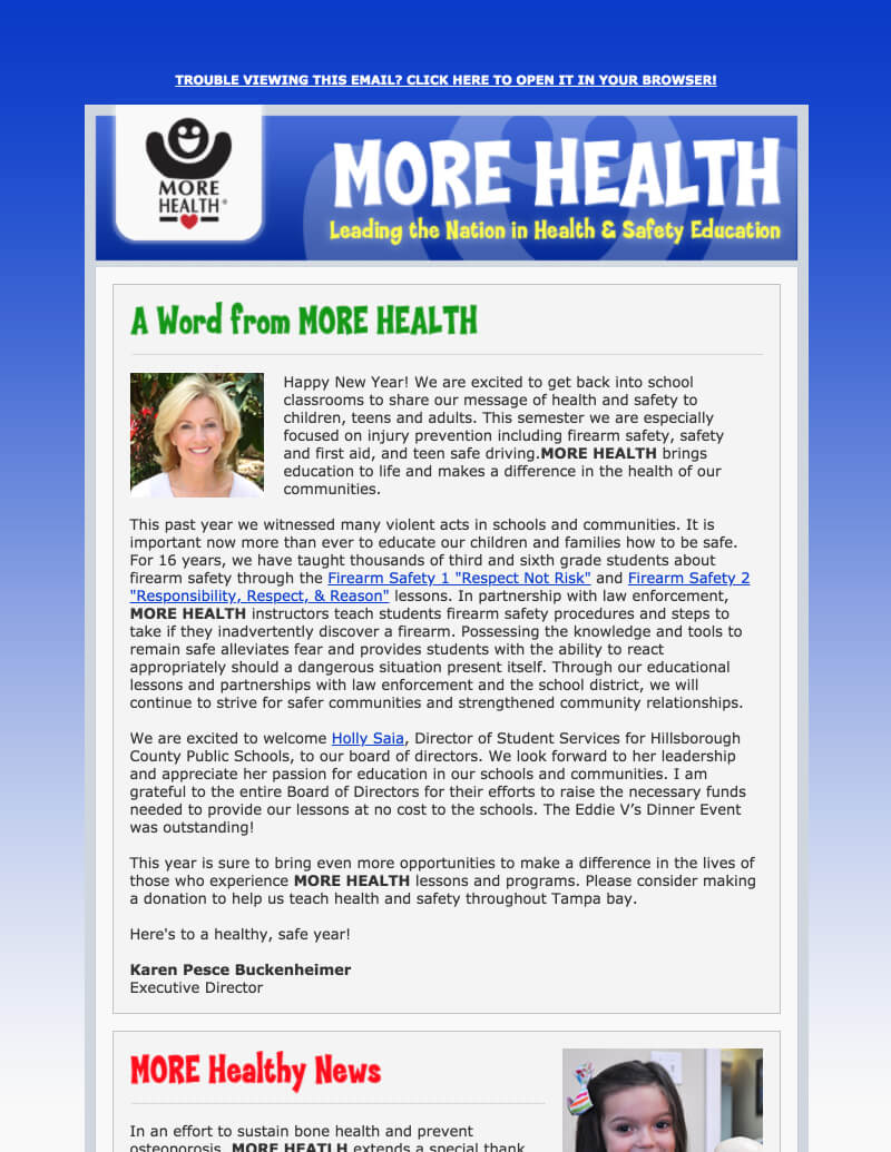 Electronic Newsletters  More Health Inc