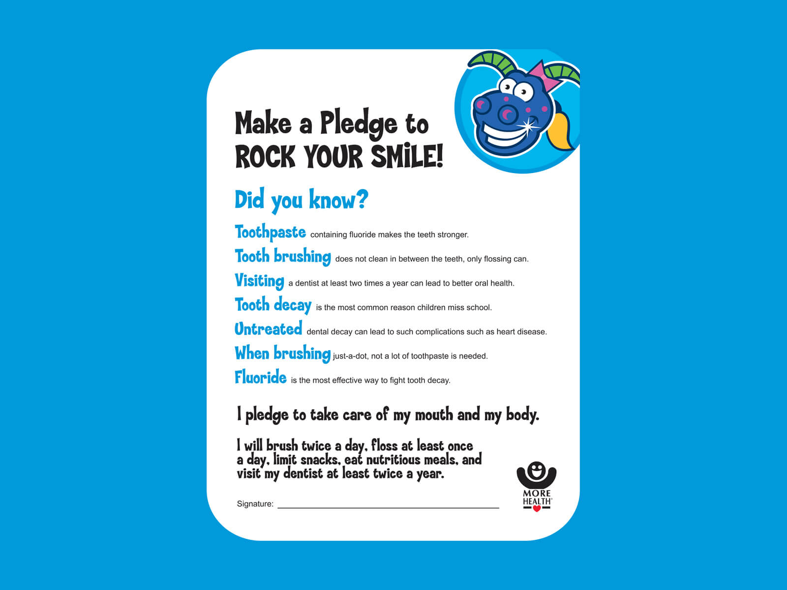 More Healthy Smiles – Healthy Mouth Pledge (PDF) – More